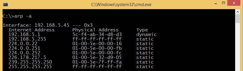 arp a command windows