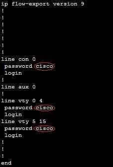 show running-config passwords
