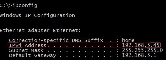 windows ipconfig command