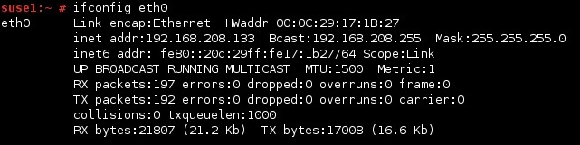 linux ifconfig eth0