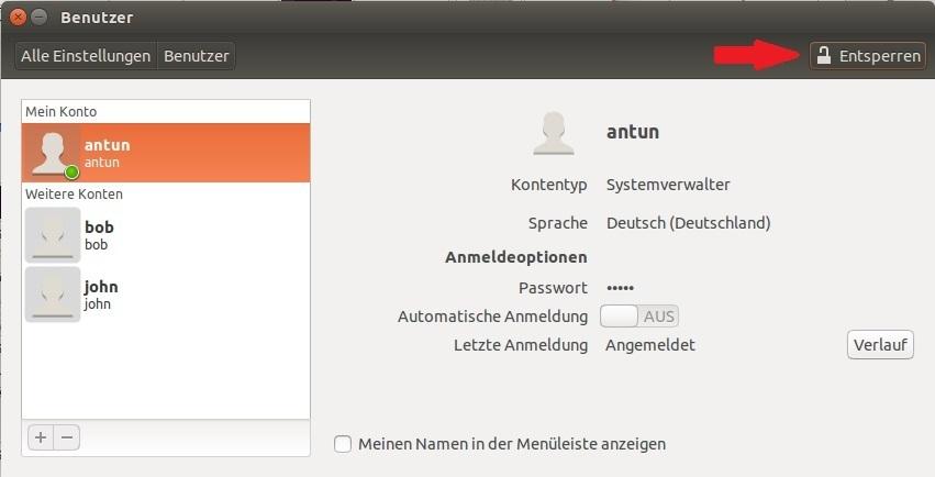 linux benutzer verändern gui 2