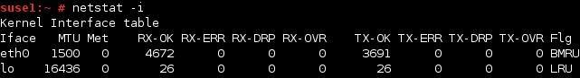 linux netstat netzwerkschnittstellen statistik