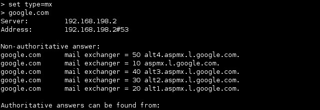 linux nslookup mx