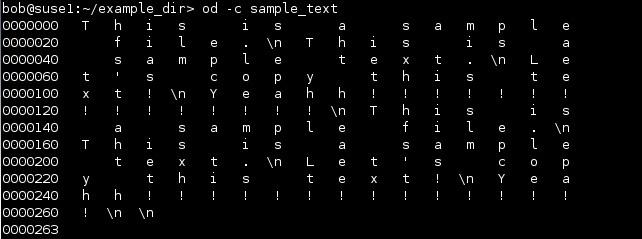 linux od zeichenformat