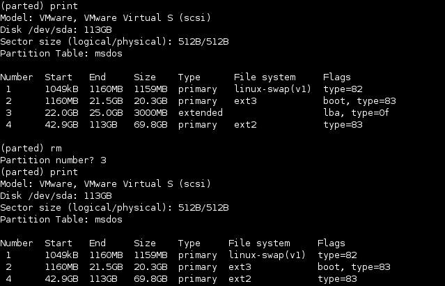 linux parted partition löschen rm