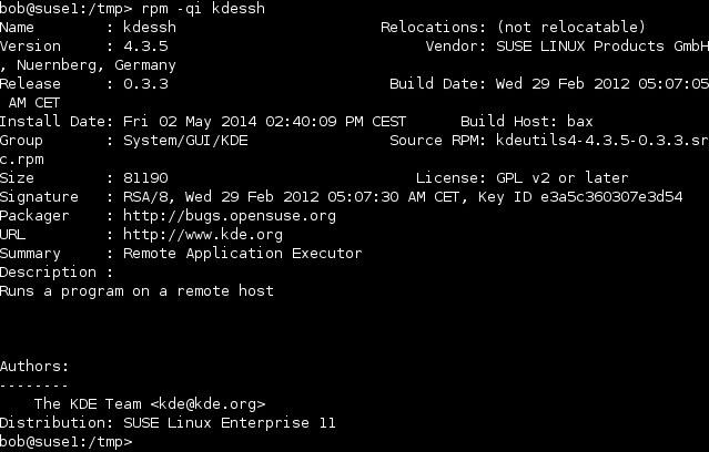linux rpm qi optionen