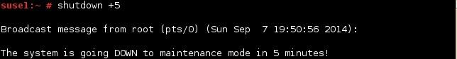linux shutdown minuten