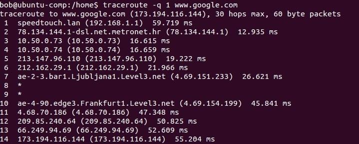 linux traceroute anzahl der pakete