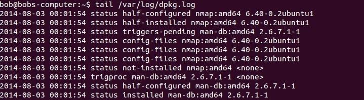 linux /var/log/dpkg.log datei