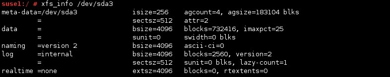 linux xfs_info befehl