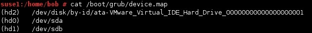 linux /boot/grub/device.map file