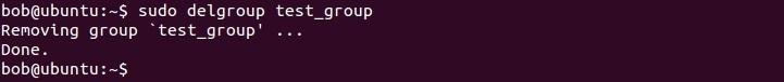 linux delgroup command