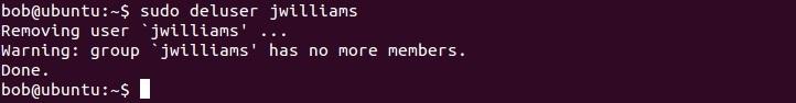 linux deluser command