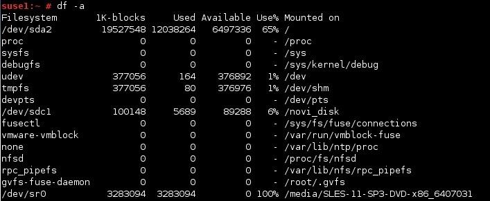 linux df command a option