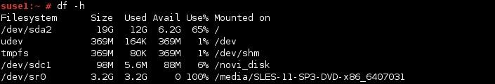 linux df command h option