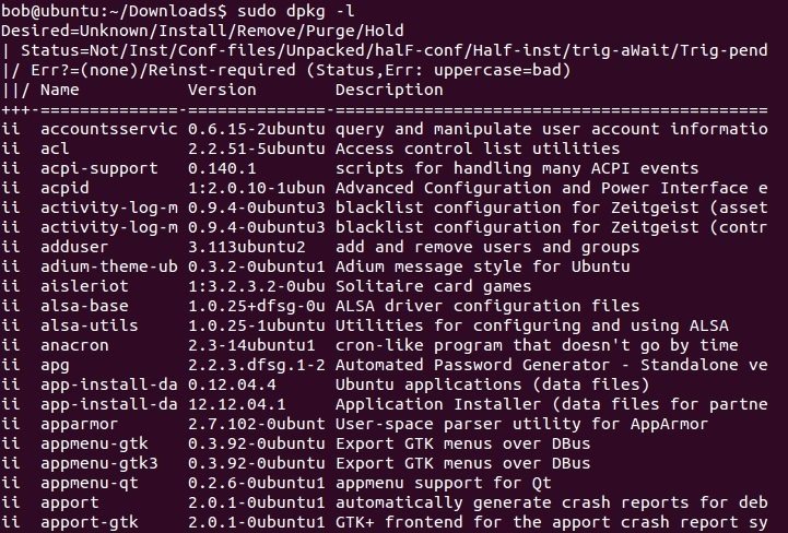linux dpkg list packages
