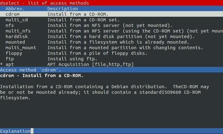 dselect access method