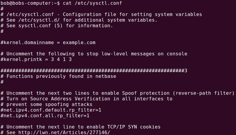 etc sysctl.conf file