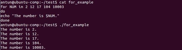linux for loop