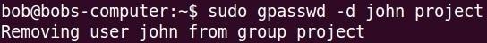 gpasswd command d option