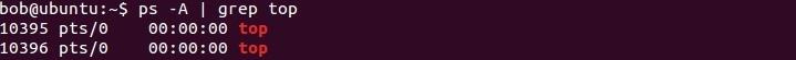 linux grep top