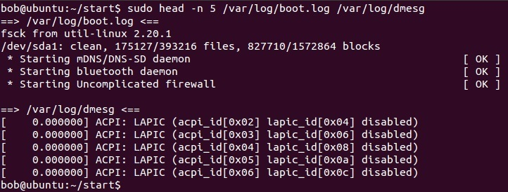 linux head command multiple files