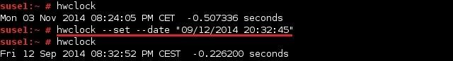 linux hwclock set date