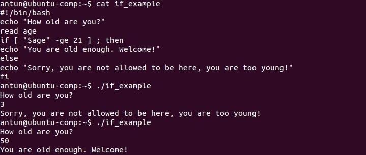 linux if else statement