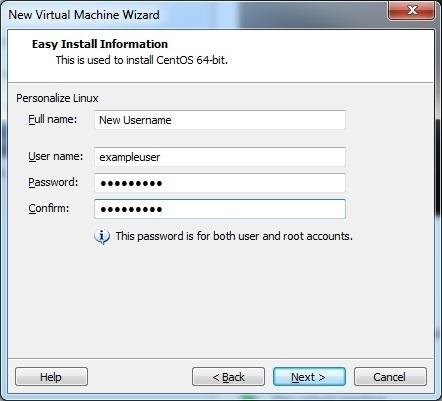 install centos username