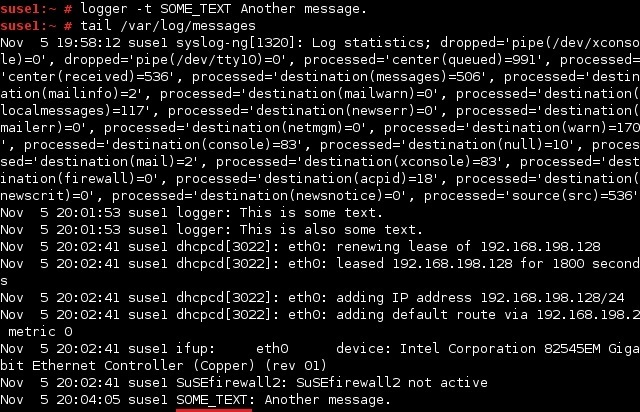 linux logger custom tag