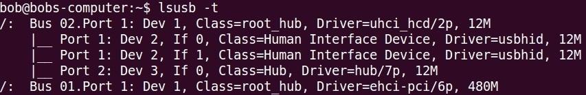lsusb command t option