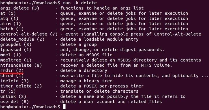 linux man command k option