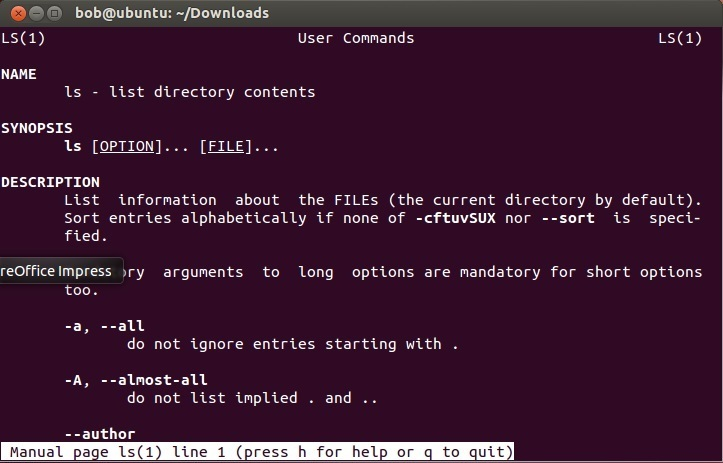 linux ls man page
