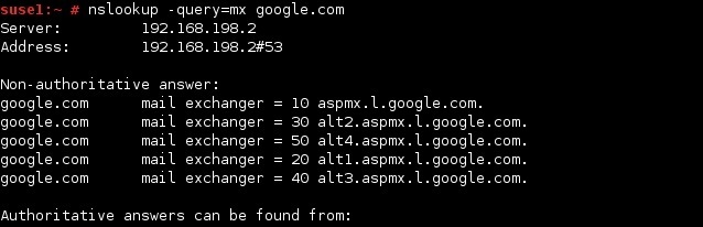 linux nslookup command mx