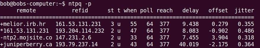 ntpq p command example