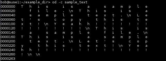 linux od character