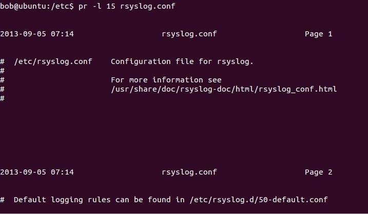 linux pr command change page length
