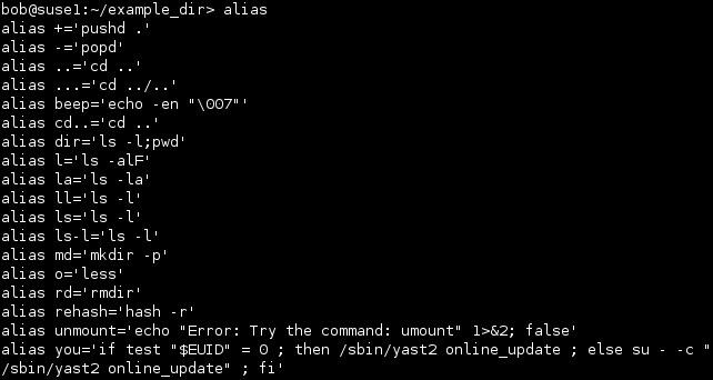 linux print aliases