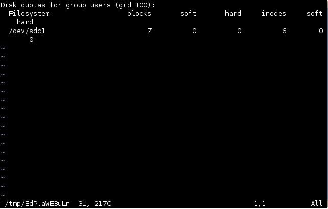 linux edquota set quotas for groups