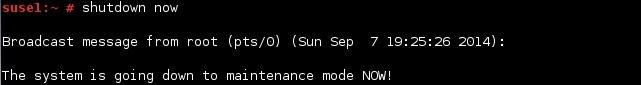 linux shutdown now command