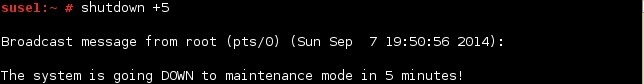 linux shutdown specify minutes
