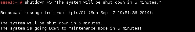 linux shutdown user message