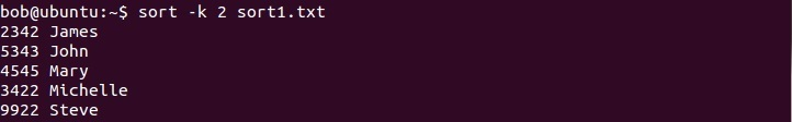linux sort by column