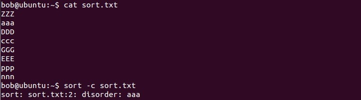 linux sort check