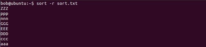 linux sort in reverse