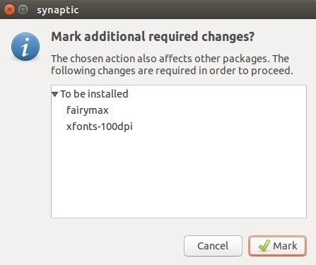 synaptic mark for installation additional packages