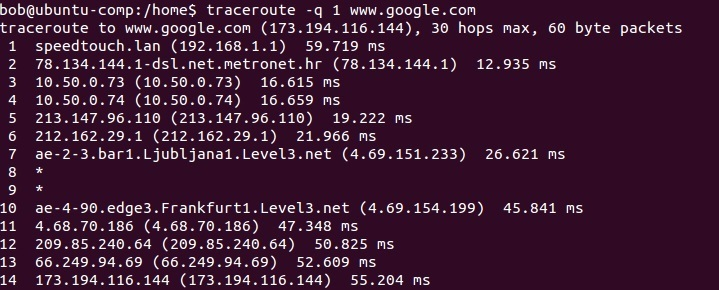 linux traceroute number of packets