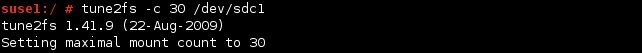 linux tune2fs command mounts