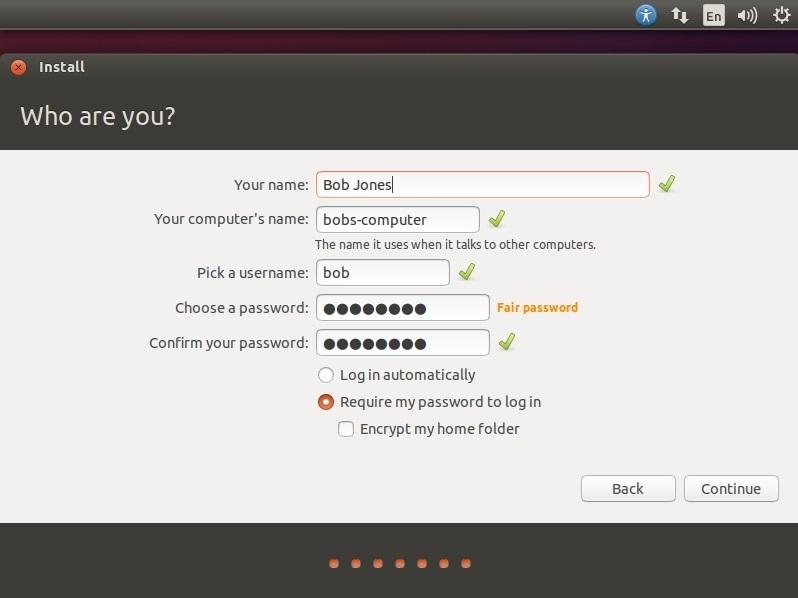 ubuntu login details