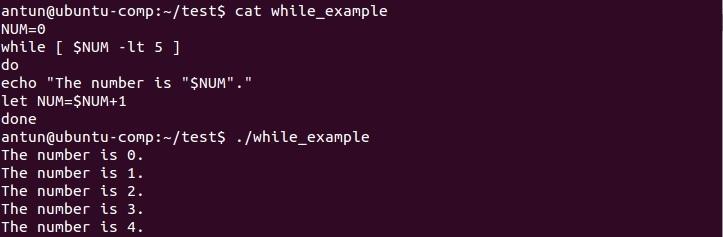 linux while loop